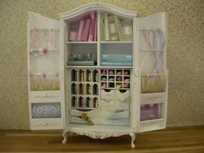 dollhouse miniature sewing armoire