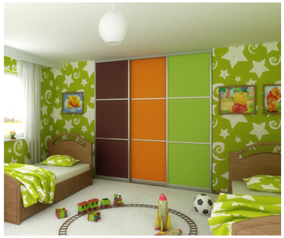 colorful sliding closet doors in green, orange, and brown