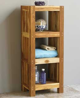 teak shelving for bathroom