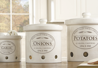canisters for storing garlic, onion, potatoes