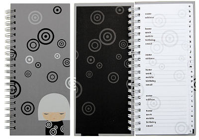 address book with doll