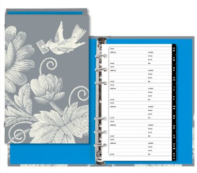 address book with bird and flowers