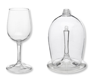 wine glass where stem unscrews from bowl
