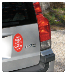Keeo Calm and Carry On bumper sticker, on car