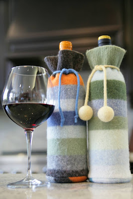 wine gift bags made from recycled wool sweaters