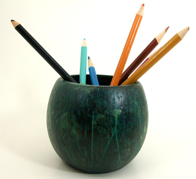 pencil cup made from a coconut