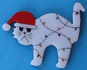 Christmas cat magnet / pin