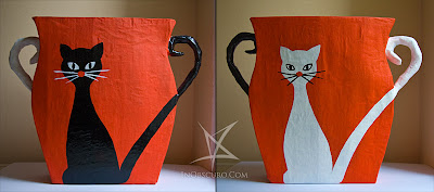 papier mache wastebasket with cats