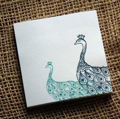 sticky notes with peacocks