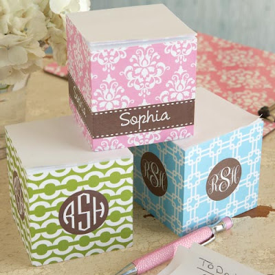sticky note cube with name or monogram
