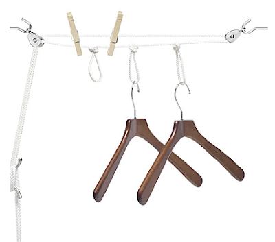 indoor drying line; hang clothes using hangers