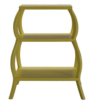 shelf, low, green, with curved sides