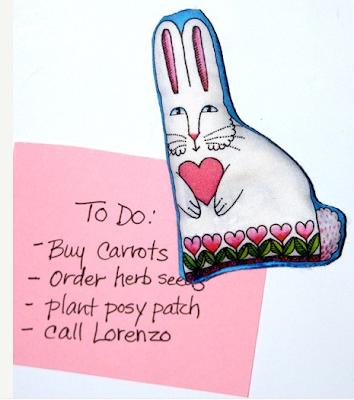 magnet - rabbit holding heart