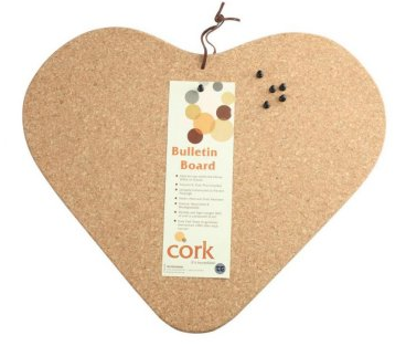 heart-shaped cork memo board