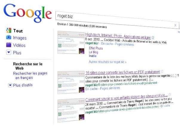 afichage vignette dans google search