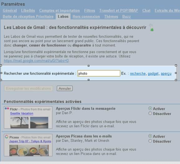 gmail labs recherche