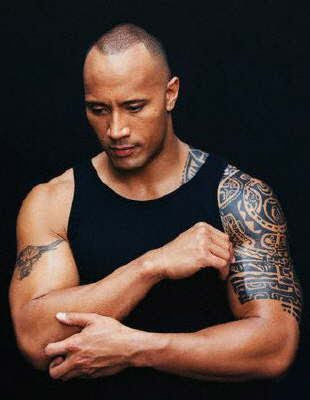 Dwayne Johnson (The Rock) has a Marquesan tattoo on his left shoulder