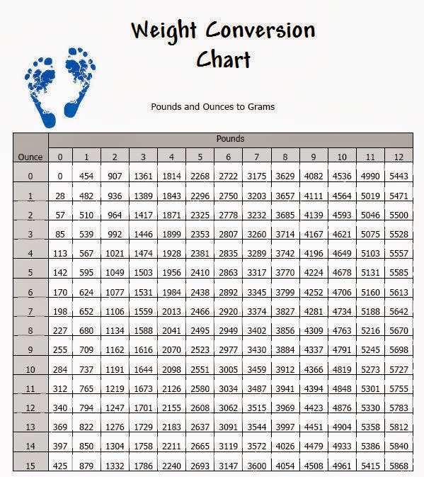 Little Eric'S Road Home: Weight Conversion Chart