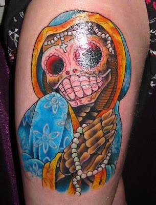 left thigh tattoos-day of dead
