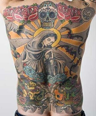 cool back tattoos designs with virgin mary tattoo