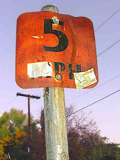 5 mph sign with Fink cartoon attached