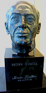 Bust of Henry Cowell in Stanford Library