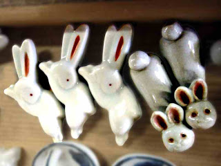 Ceramic chopstick-holder bunnies