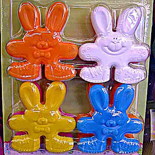 I think these are plastic Bunny cookie cutters or something