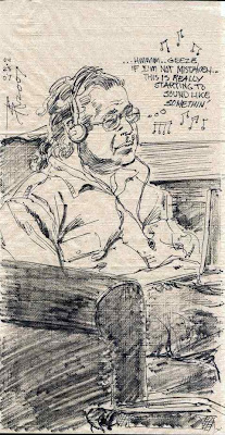 Spark's drawing of David Ocker composing Wagner & Schubert Have Intercourse