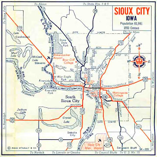 map of Sioux City Iowa from 1960s