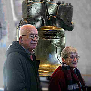 Ben & Marion Shuman with Liberty Bell - Philadelphia - 2004