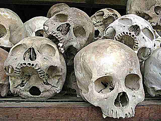 Cambodian Killing Field skulls picture by Kristina