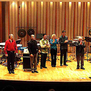 Bill Kraft and performers at the end of the concert