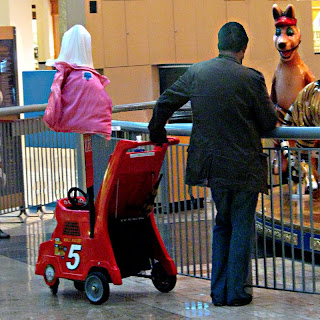 a baby cart, a man and a kangaroo at the Santa Anita mall