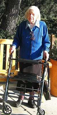 Rose Harris with her walker, January 2009