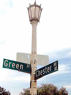 Green and Chester Street Sign - Pasadena CA - (c)David Ocker