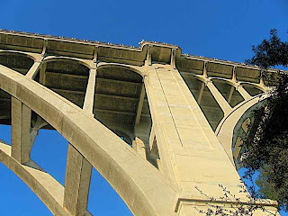 Colorado Street Bridge side view from underneath Pasadena CA