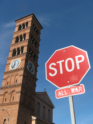 Stop All War stop sign