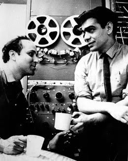 Ramon Sender, on right, in front of Ampex 3-head taperecorder at San Francisco Tape Music Center
