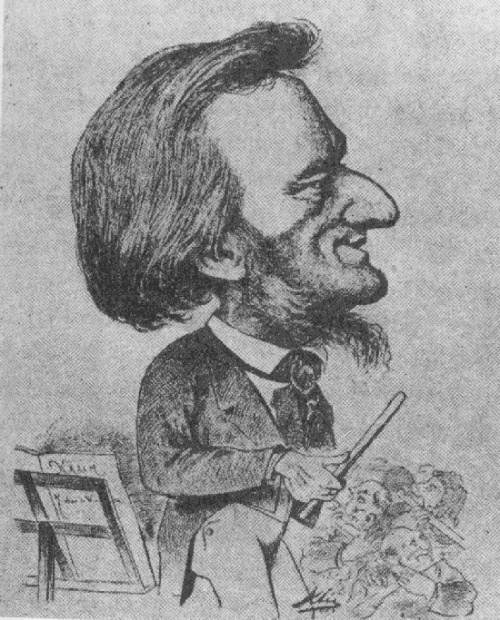 caricature of Richard Wagner with a big nose