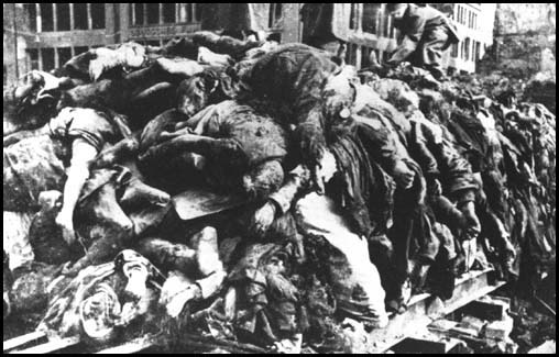 piles of dead bodies after bombing of Dresden Germany - these are Germans, not Jews
