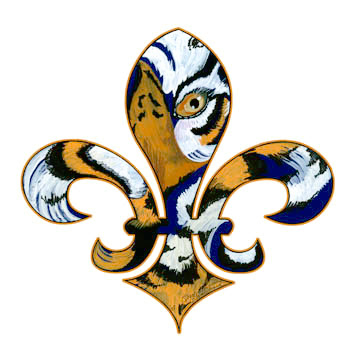 Saints LSU Fleur De Lis http://fleurdelirious.blogspot.com/2007/10/purple-and-gold-fleur-de-lis.html