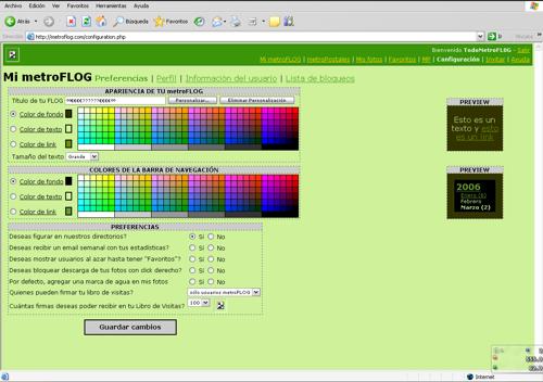Como cambiar el color de fondo de los sectores de tu metroflog que solo tu puedes ver.