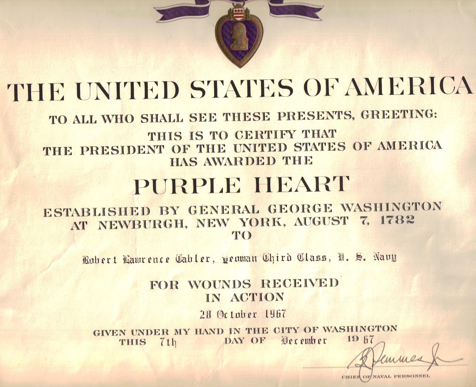 Nice Purple Heart Certificate Template Ideas - Resume Ideas ...