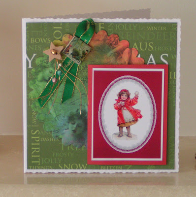 phtograph of hand crafted christmas card featuring a victorian snowballer