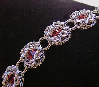image romanov chainmaille bracelet red shazzabeth etsy