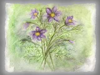 image painted purple flowers note cards
