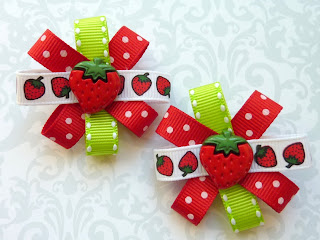 image strawberry loop hair clips by lilprincessbow
