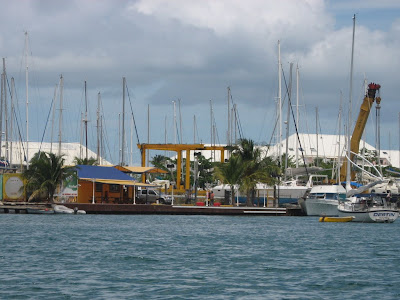 French St Martin Cadisco Fuel Dock in Lagoon