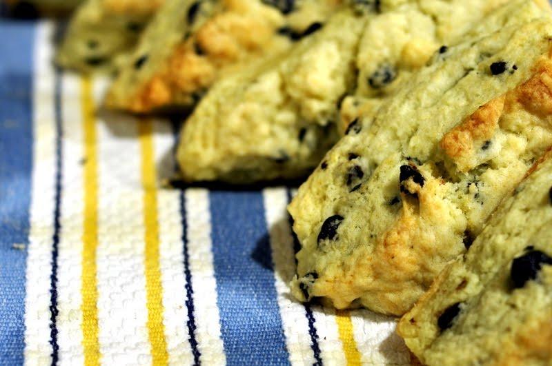 flaky blueberry scones